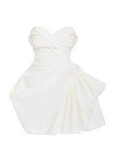 Carolina Herrera Exclusive Gathered Silk-Poplin Mini Dress