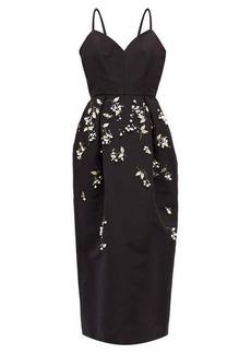 Carolina Herrera Faux-pearl and bead-embellished faille dress