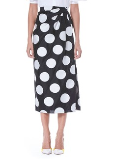 Carolina Herrera Faux-Wrap Side-Slit Dot-Print Midi Skirt
