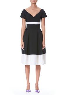 Carolina Herrera Fit-and-Flare Bicolor Wool-Blend Dress