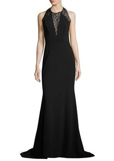 Carolina Herrera Fitted Jersey Lace-Inset Gown