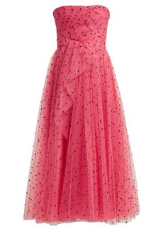 Carolina Herrera Flocked waterfall-panel strapless tulle gown