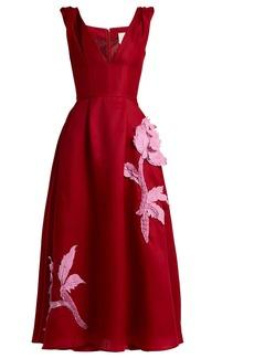 Carolina Herrera Floral appliqué silk-gazar dress