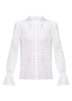 Carolina Herrera Floral cotton-blend crochet blouse