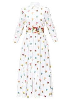 Carolina Herrera Floral-embroidered cotton-poplin shirt dress