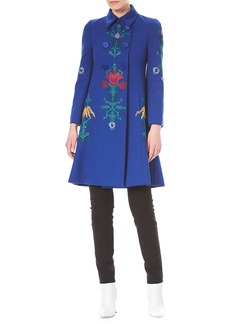 Carolina Herrera Floral-Embroidered Double-Breasted Wool Coat