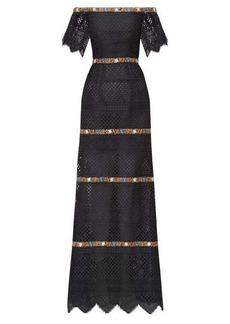 Carolina Herrera Floral-embroidered guipure-lace bardot dress