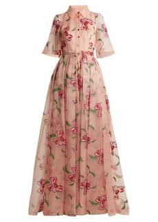Carolina Herrera Floral-embroidered silk gown