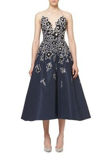 Carolina Herrera Floral-Embroidered Strapless A-Line Cocktail Dress