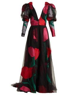 Carolina Herrera Floral fil coupé organza gown