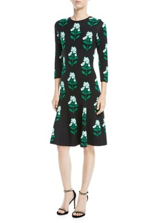 Carolina Herrera Floral Jacquard Long-Sleeve Dress