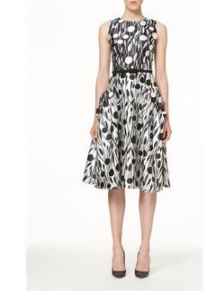 Carolina Herrera Floral Mikado Belted Midi-Dress