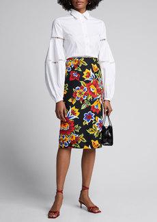 Carolina Herrera Floral Pencil Skirt