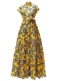 Carolina Herrera Floral-print gathered silk-gazar gown