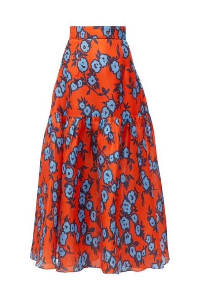 Carolina Herrera Floral-print gathered silk-gazar mid skirt