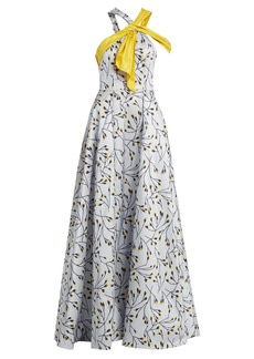 Carolina Herrera Floral-print halterneck gown