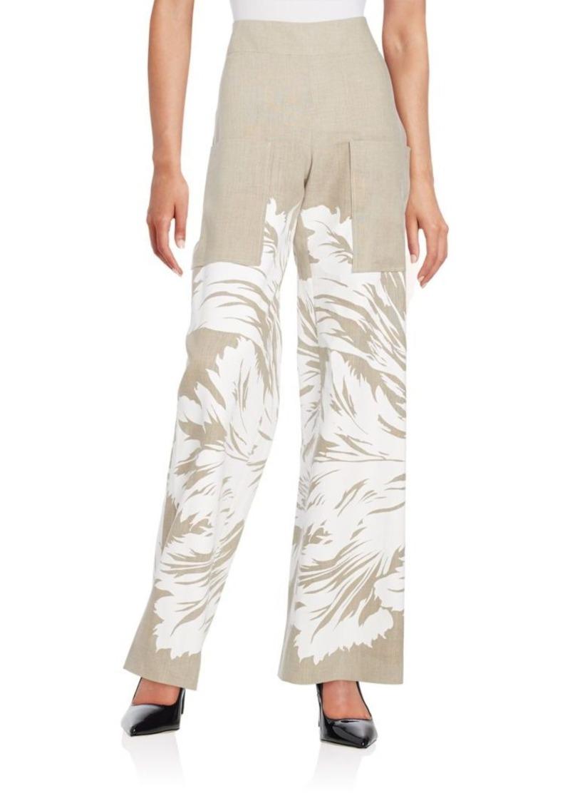 Carolina Herrera Floral-Print Linen Pants