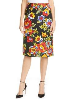 Carolina Herrera Floral Print Pencil Skirt