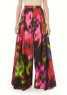 Carolina Herrera Floral Print Pleated Wide Leg Pants