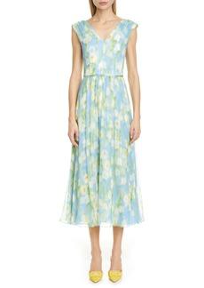 Carolina Herrera Floral Print V-Neck Silk Midi Dress