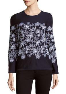 Carolina Herrera Floral-Print Virgin Wool Sweater
