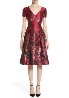 Carolina Herrera Floral Silk Brocade Fit & Flare Dress
