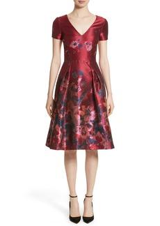 Carolina Herrera Floral Brocade Fit & Flare Dress