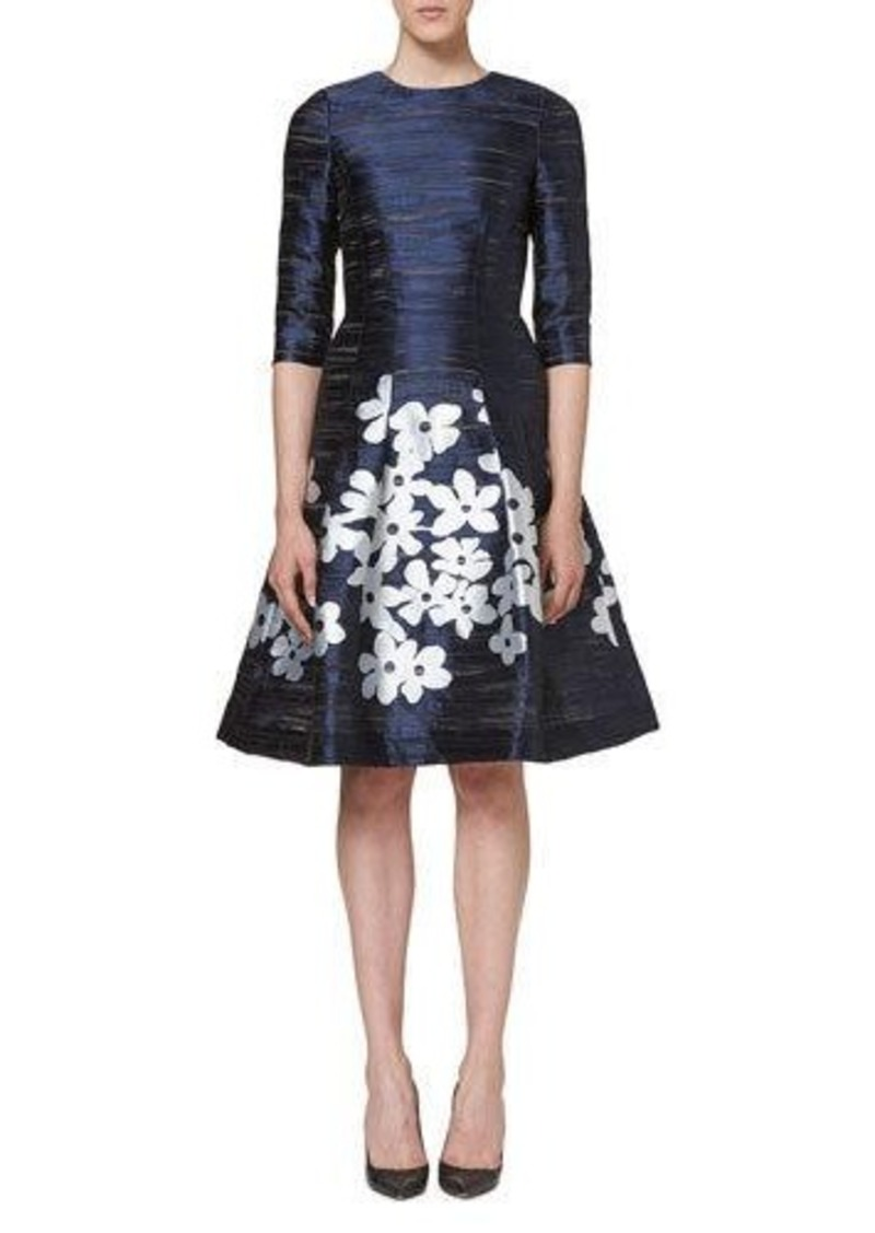 Carolina Herrera Carolina Herrera Floral-Skirt 3/4-Sleeve Cocktail ...