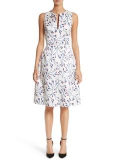 Carolina Herrera Floral Split Neck Fit & Flare Dress
