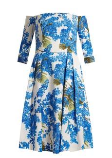 Carolina Herrera Floral-vine print off-shoulder dress