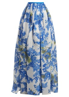 Carolina Herrera Floral Vine-print pleated skirt