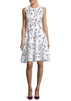 Carolina Herrera Flower Bud Jacquard Fit and Flare Knit Dress