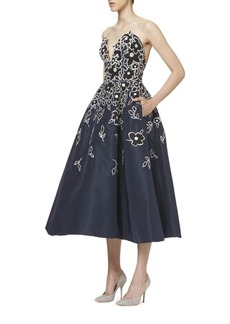 Carolina Herrera Flower Embroidered Cocktail Dress