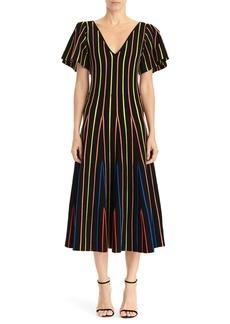 Carolina Herrera Flutter Sleeve Fit & Flare Midi Dress