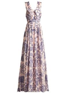 Carolina Herrera Gathered floral fil coupé gown
