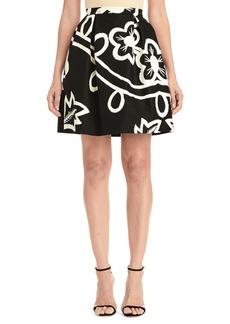 Carolina Herrera Graphic Floral Pleated Skirt