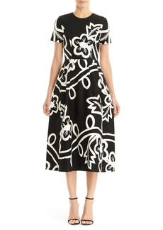 Carolina Herrera Graphic Floral Short Sleeve Midi Dress