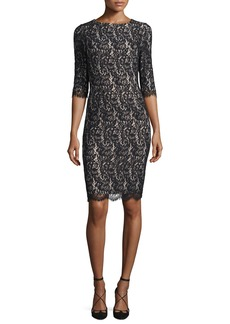 Carolina Herrera Half-Sleeve Lace Sheath Dress