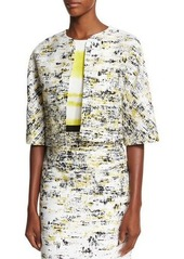 Carolina Herrera Half-Sleeve Open-Front Cropped Jacket