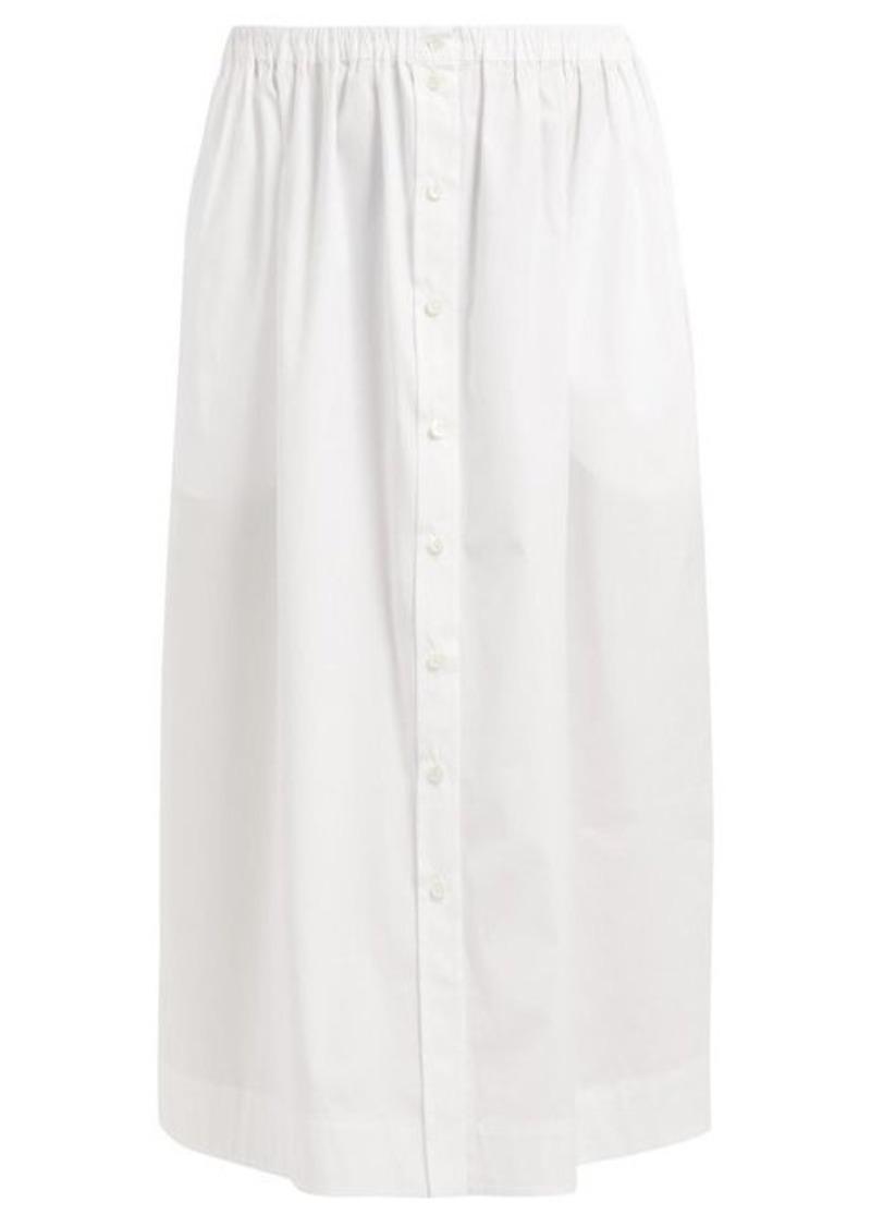 Carolina Herrera High-rise buttoned cotton midi skirt