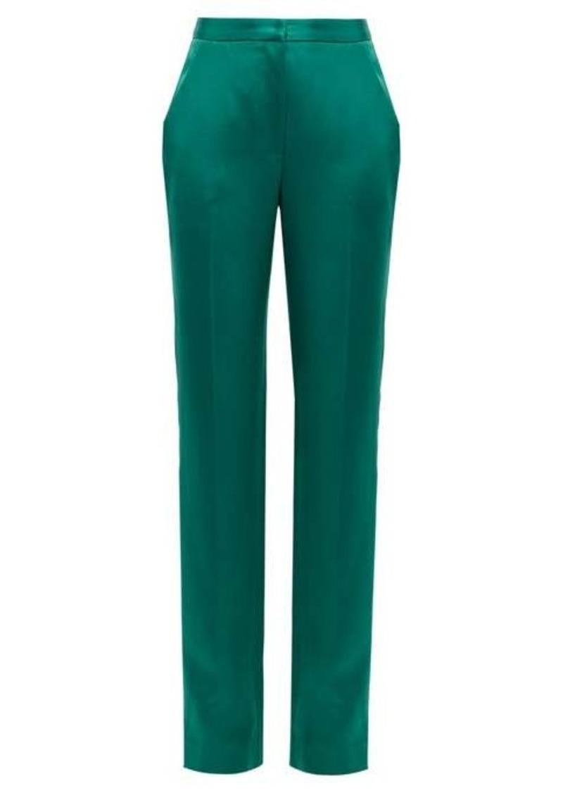 Carolina Herrera High-rise straight-leg satin trousers