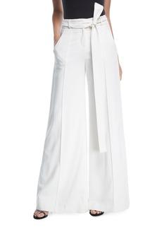 Carolina Herrera High-Waist Wide-Leg Pants with Ribbon Belt