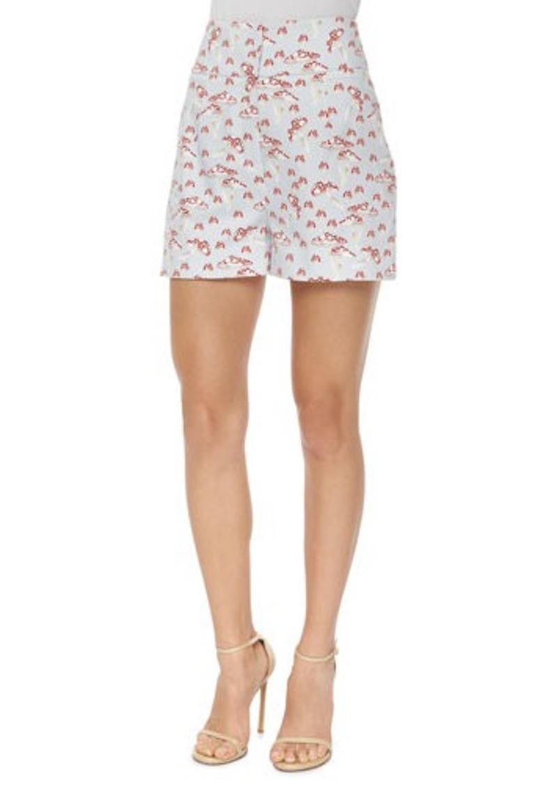 Carolina Herrera High-Waisted Mushroom-Print Shorts
