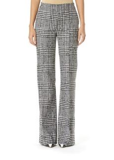 Carolina Herrera Houndstooth Wool-Silk Wide-Leg Pants