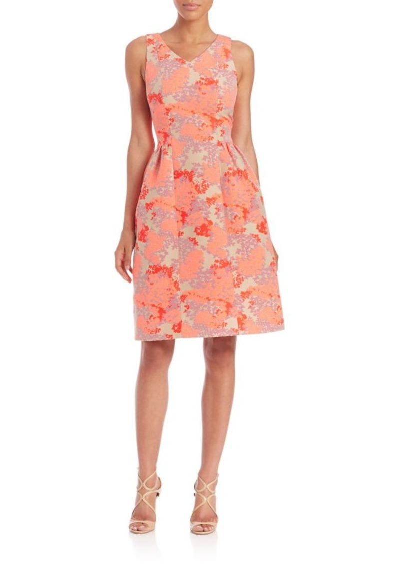 Carolina Herrera Hydrangea Jacquard Fit-&-Flare Dress