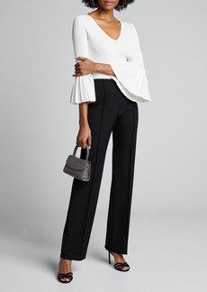 Carolina Herrera Icon 2.0 Wide-Leg Wool Crepe Pants