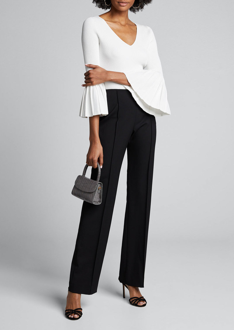 Carolina Herrera Icon Wide-Leg Wool Crepe Pants