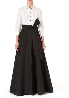 Carolina Herrera Icon Two-Tone Taffeta Trench Gown