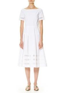 Carolina Herrera Illusion-Trim Short-Sleeve Midi Dress