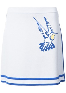 Carolina Herrera Intarsia hummingbird tennis knit skirt - Blue